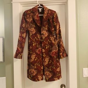 CAbi Burgundy Floral Jacobean Style #749 Coat